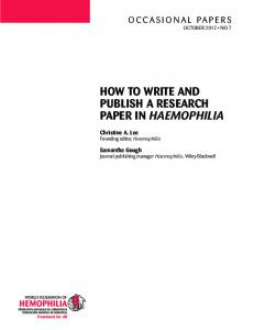 How to Write and Publish a Research Paper in Haemophilia