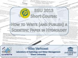 How to write (and publish) a scientific paper in hydrology