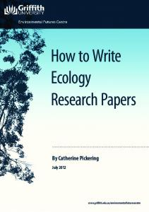 How to Write Ecology Research Papers - Griffith University