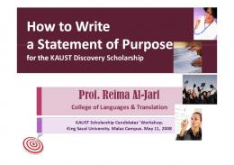 How to Write How to Write a Statement of Purpose a