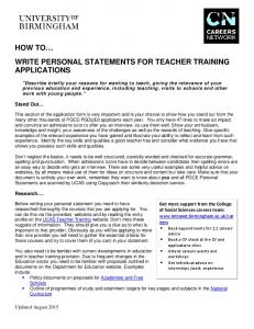 How to write personal statements for teaching (PDF - 343KB)
