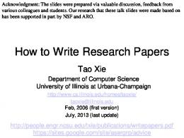 How to Write Research Papers - NCSU COE People