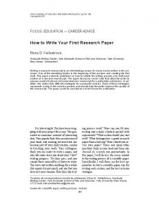 How to Write Your First Research Paper - McMaster University's ...