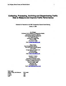 How Traffic Management Center Data Can Be Used to ... - CiteSeerX
