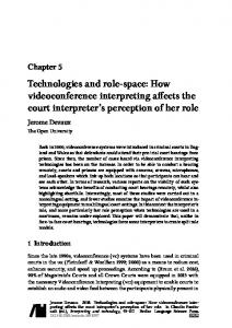 How videoconference interpreting affects the court interpreter's