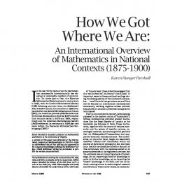How We Got Where We Are: An International Overview of ...
