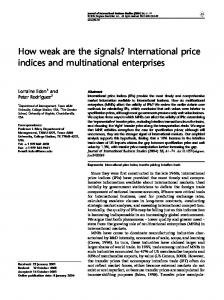 How weak are the signals? International price
