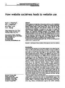 How website socialness leads to website use - ProQuest Search