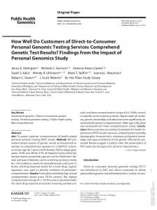 How Well Do Customers of Direct-to-Consumer Personal Genomic ...