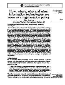 How, where, why and when information technologies ... - Alan Southern