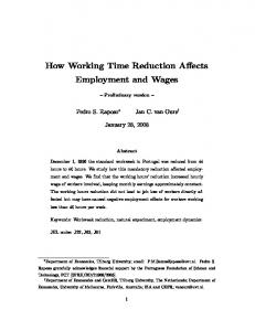 How Working Time Reduction Affects Employment and Wages - IZA