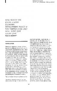 how would you know a good economic development policy if you ...