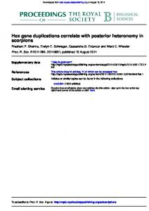Hox gene duplications correlate with posterior ... - Extavour Lab