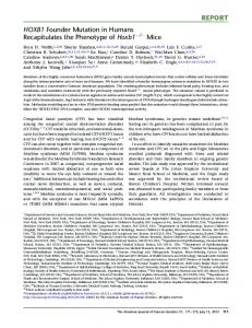HOXB1 Founder Mutation in Humans Recapitulates the Phenotype of ...