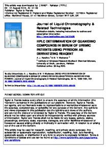 hplc determination of guanidino compounds in serum