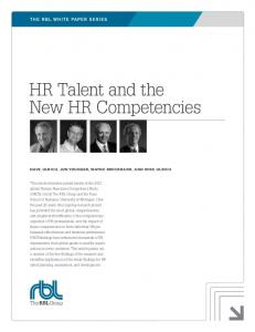 HR Talent and the New HR Competencies