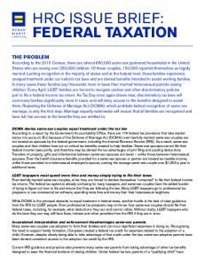 HRC ISSUE BRIEF: FEDERAL TAXATION