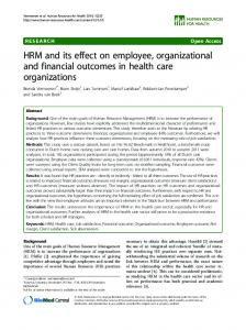 HRM and its effect on employee, organizational and financial
