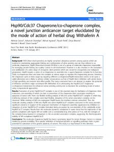 Hsp90/Cdc37 Chaperone/co-chaperone complex, a novel junction ...
