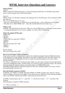 HTML Interview Questions and Answers - sbdsi.saikat
