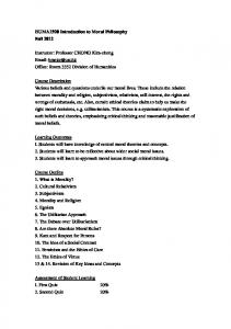 HUMA1920 Introduction to Moral Philosophy Fall 2012 Instructor ...