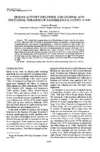 Human Activity Influence and Diurnal and Nocturnal Foraging of ...