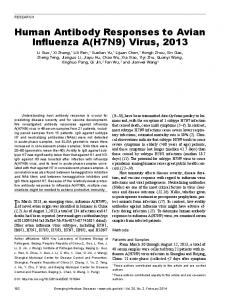 Human Antibody Responses to Avian Influenza A(H7N9) Virus, 2013