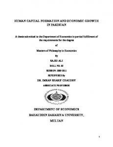 human capital formation and economic growth in ...