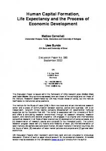 Human Capital Formation, Life Expectancy and the Process of ... - IZA