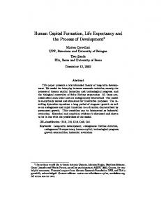 Human Capital Formation, Life Expectancy and the Process ... - RePEc