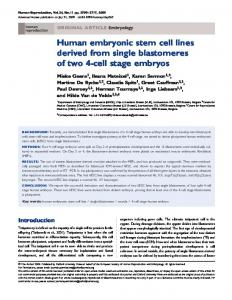 Human embryonic stem cell lines derived from single blastomeres of