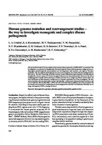 Human genome mutation and rearrangement studies ...