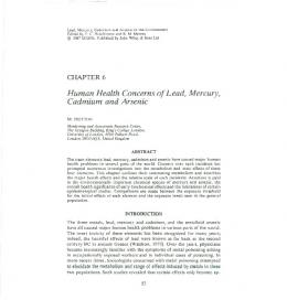 Human Health Concerns of Lead, Mercury, Cadmium and Arsenic
