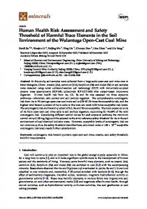 Human Health Risk Assessment and Safety Threshold of ... - MDPI