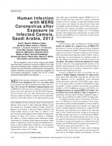 Human Infection with MERS Coronavirus after Exposure to Infected ...