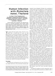 Human Infection with Rickettsia honei, Thailand - Centers for Disease ...