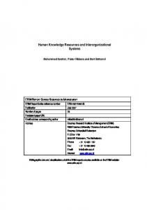 Human Knowledge Resources and Interorganizational Systems