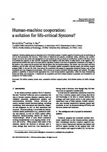 Human-machine cooperation: a solution for life ... - Semantic Scholar