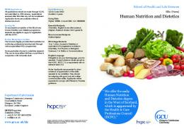 Human Nutrition and Dietetics - Glasgow Caledonian University