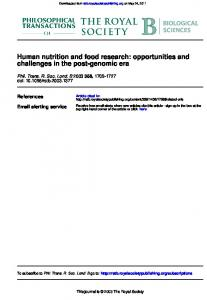 Human nutrition and food research: opportunities ...