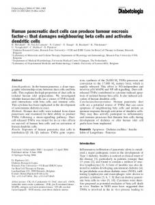 Human pancreatic duct cells can produce tumour ... - Springer Link