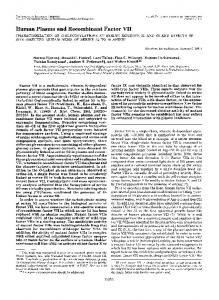 Human Plasma and Recombinant Factor VI1 - The Journal of ...