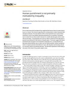 Human punishment is not primarily motivated by ... - Semantic Scholar