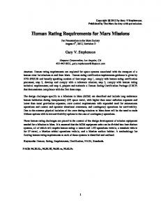 Human Rating Requirements for Mars Missions - viXra