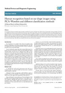 Human recognition based on ear shape images using PCA ... - OAText