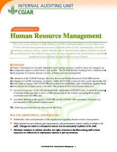Human Resource Management - cgiar