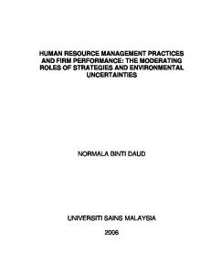 human resource management practices and firm performance