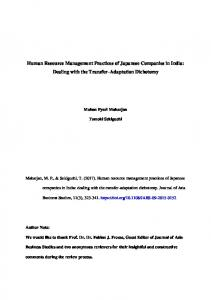 Human Resource Management Practices of