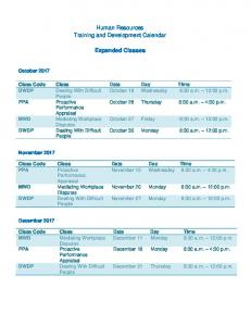 Human Resources Department Training and Development Calendar ...