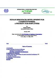 human resources development for competitiveness - International ...